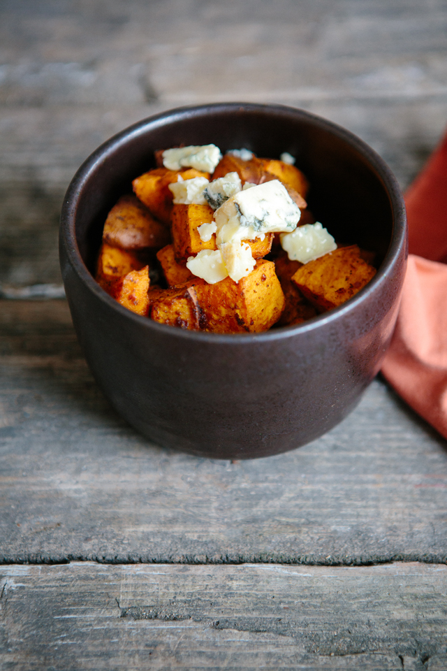 Harrisa roasted sweet potatoes with blue cheese